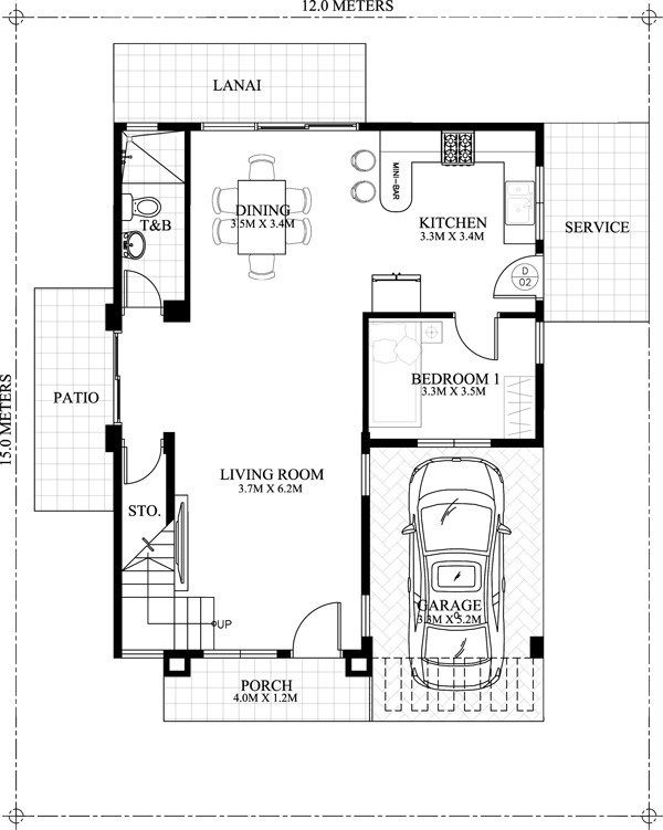 House Plans 12x15m With 4 Bedrooms House Construction Plan House Floor Plans Bedroom House Plans