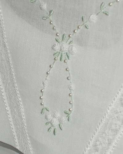 Pretty pearls and boullion roses on Hand Embroidered First Communion Dress
