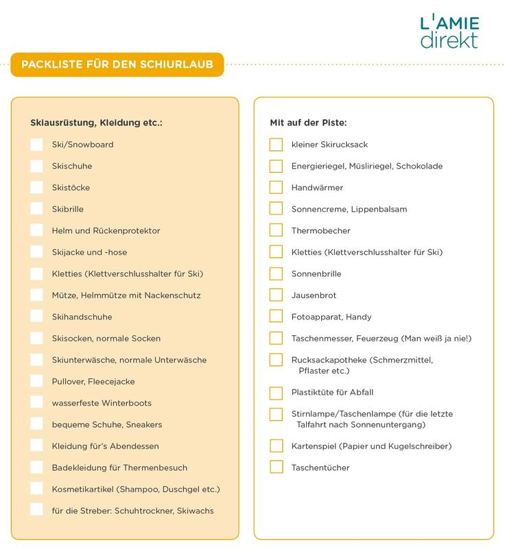 Packliste Skiurlaub als PDF-Download, Tipps Skiurlaub, Winterurlaub Checkliste