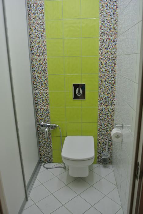 Отделка туалета плитка и мозаика, унитаз с гигиеническим душем