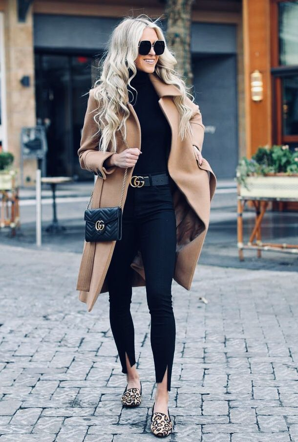 All black outfit with a splash of animal print are so chic ★ | Pinned by Zefinka.com
