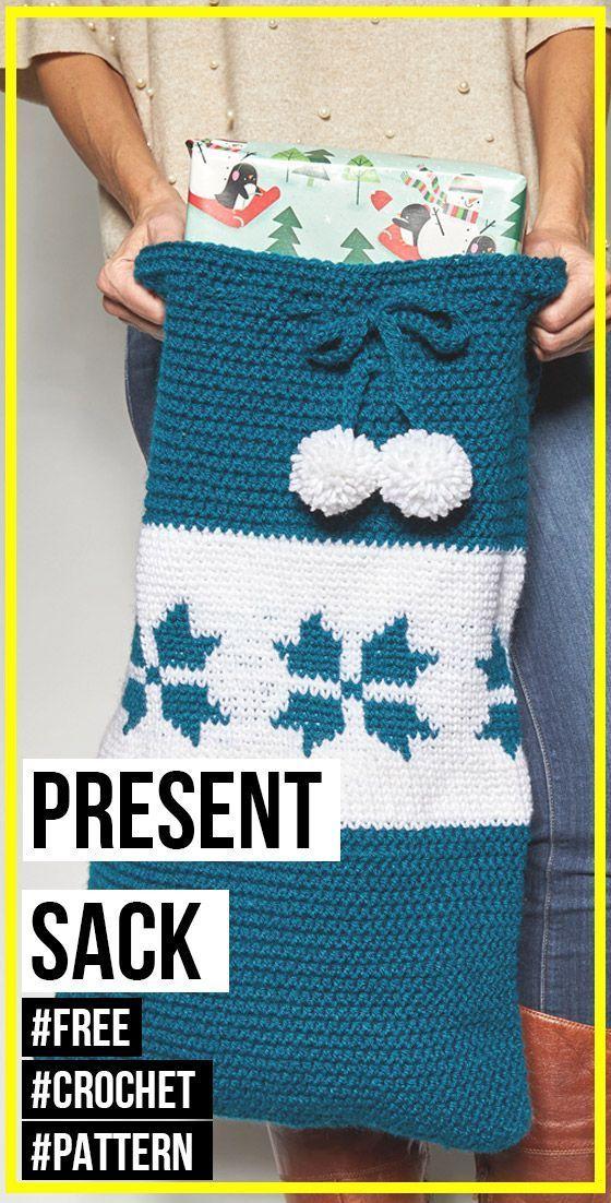 crochet Snowflake Present Sack free pattern