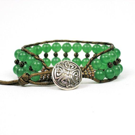 Metallic Gold Leather Cuff Bracelet - Green Aventurine Boho leather Wrap Bracelet - Green hand loom beaded Bracelet