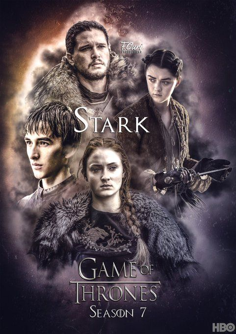The remaining Starks, Game of Thrones seapn 7. Jon Snow, Kit Harington. Sansa Stark, Sophie Turner. Arya Stark, Maisie Williams. Bran Stark, Isaac Hampstead Wright