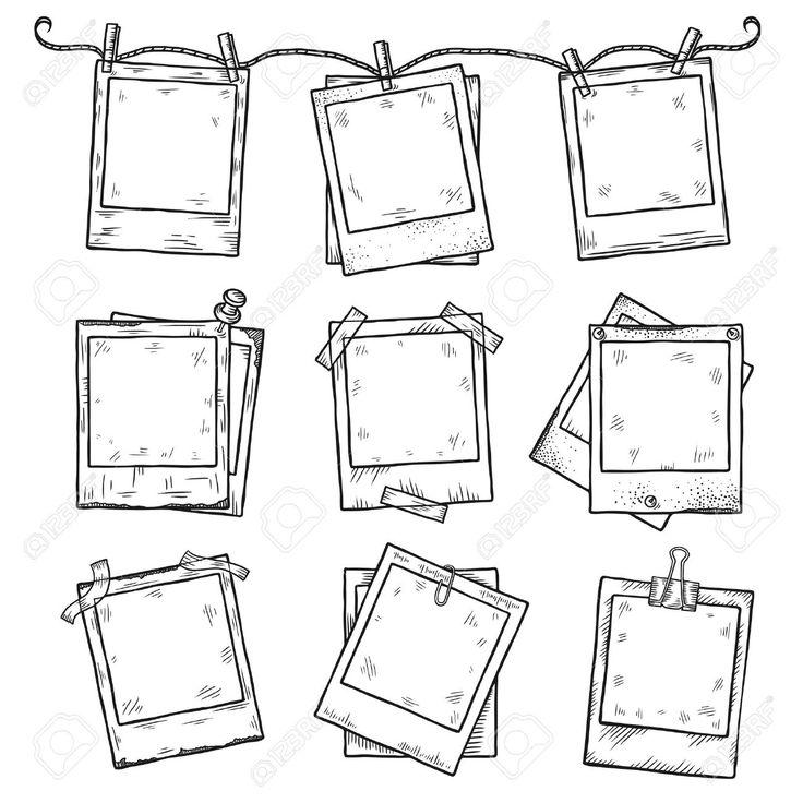 Hand gezeichnet vintage photo frame doodle gesetzt. Alle Hauptelemente sind getrennt.