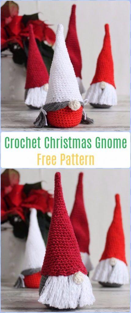 Crochet Christmas Gnome Free Pattern - migurumi Crochet Christmas Softies Toys Free Patterns
