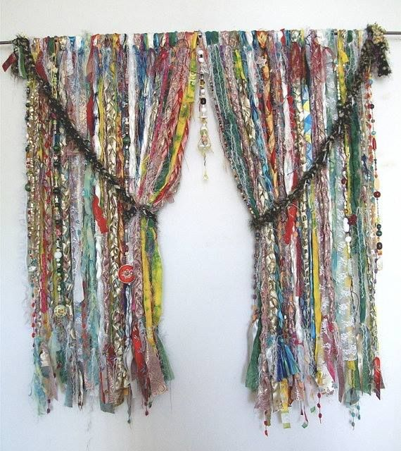 gypsy curtains make out of frayed ties