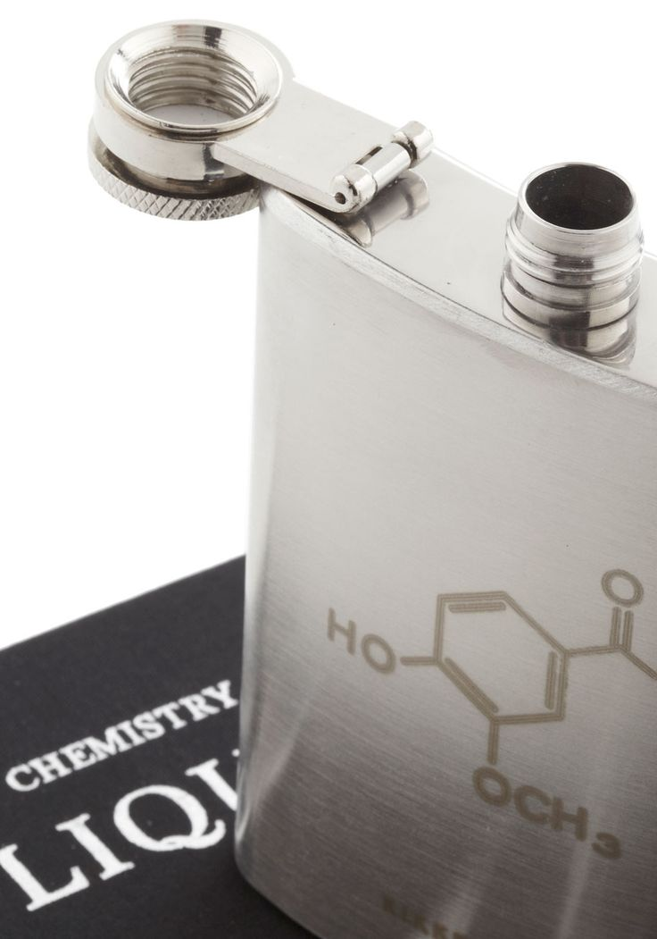 In The Spirit of Surprise Flask. Your latest success in the lab deserves a celebration, so your colleagues wonder why youre reaching for a petite chemistry textbook on your shelf! #black #modcloth