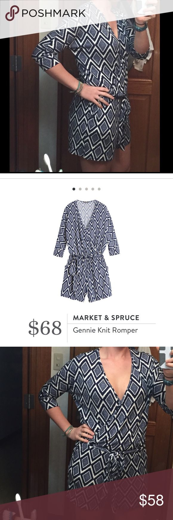 Market & Spruce Romper Blue and white NWT romper from my last Stitch Fix. This is such a cute, comfy, and easy outfit, since it's all in one! Very soft material, lots of stretch to it. I just have too many similar rompers to this. Paid Stitch Fix's price for this. Feel free to make me an offer or bundle to save! Market & Spruce Other