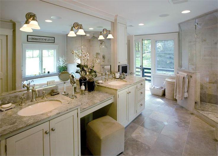 Craftsman bathroom long vanity mirror | Bathroom vanity ...
