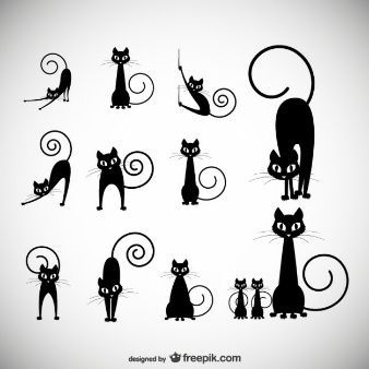 illustration vectorielle stock: noir collections silhouette de chat: