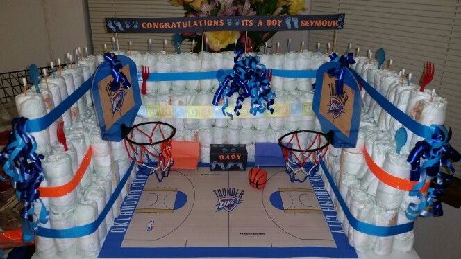 Basketball court diaper cake! Don't forget basketball ...