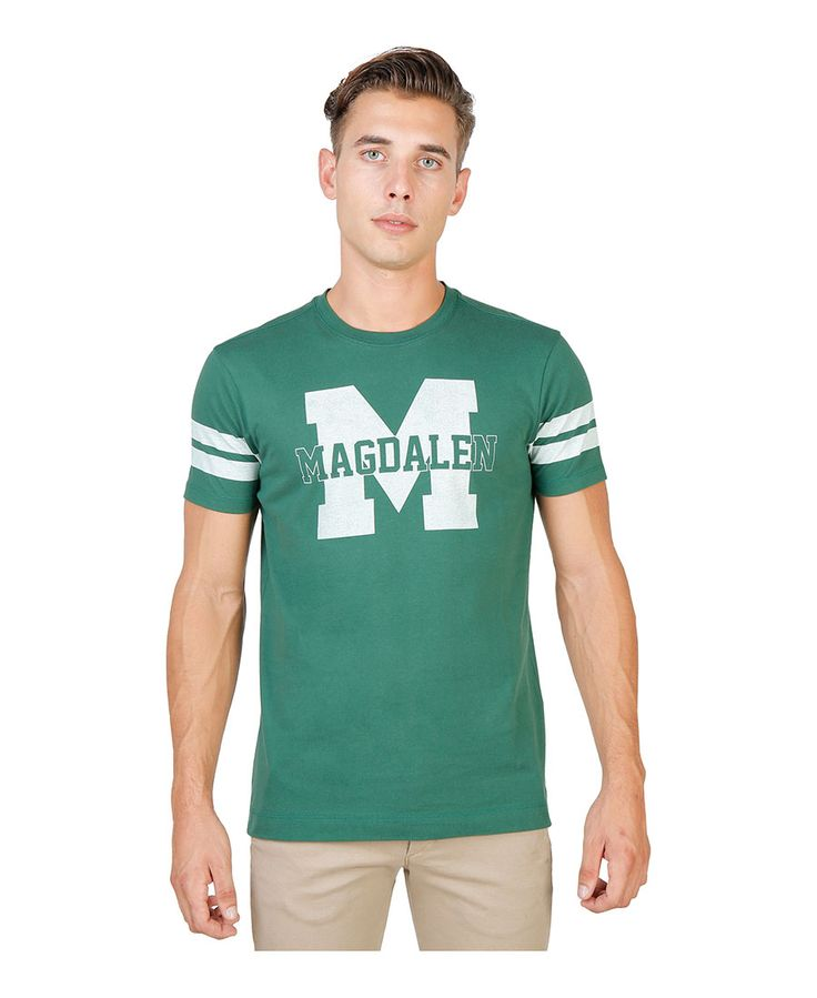 T-shirt girocollo a maniche corte con striscia di colore a contrasto - 100% cotone - tessuto tinto pezza a 60° c con col - T-shirt uomo  Verde