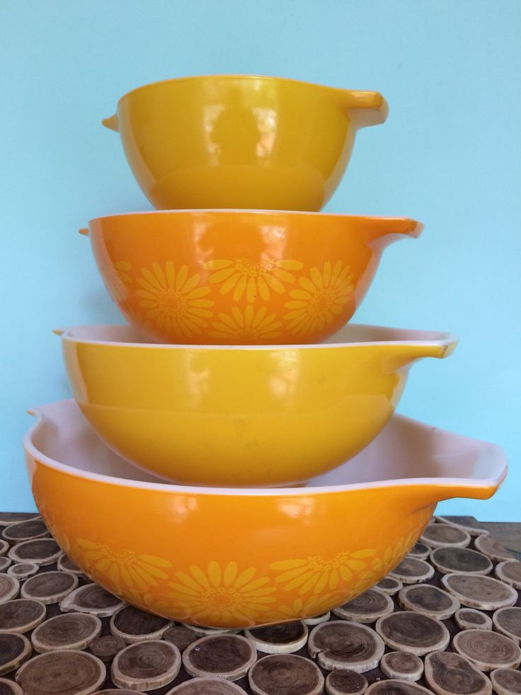 Pyrex Cinderella Mixing Bowl Set #441, #442, #443 & #444 - Yellow Orange Daisy - Midcentury Modern Vintage Bakeware by 20thCKitchenAndTable on Etsy