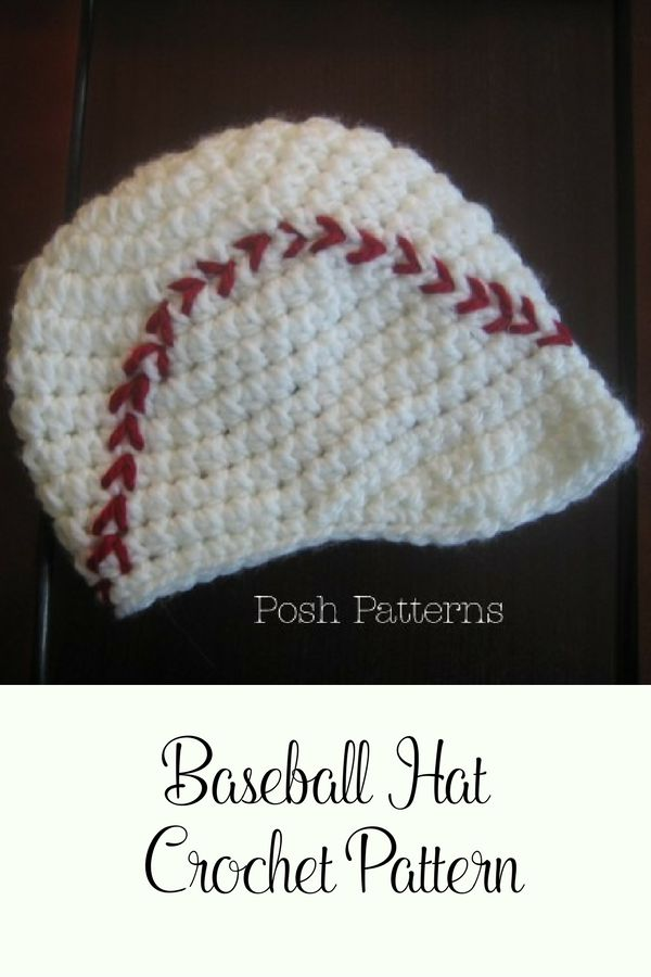 Crochet Pattern - This crochet baseball visor hat is totally cute and fun to crochet! By Posh Patterns.