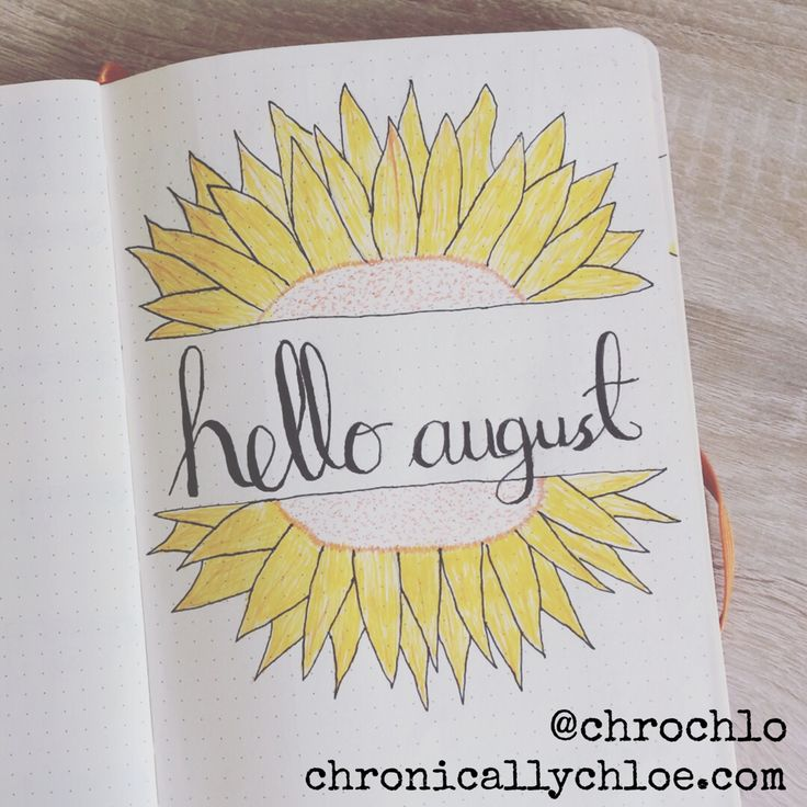 Cover page for this month in my bullet journal. I chose a sunflower theme for august - Chronically Chloe @chrochlo on instagram