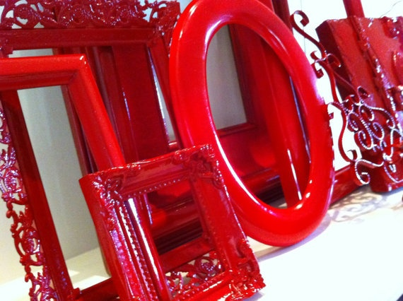 Red Vintage Frames, Upcycled, Unique Home Decor, Alice In Wonderland