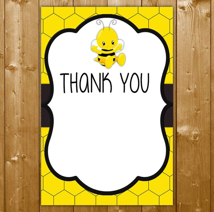 Bee Thank You Card in Yellow, Baby Shower Invitation Neutral, Baby Shower Thanks, EL001C, Instant Download