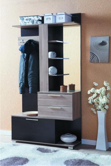 Современная мебель для прихожей с комодом, зеркалом и вешалкой