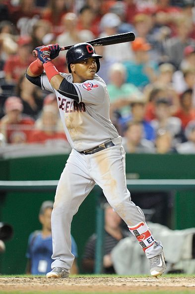 Jose Ramirez of the Cleveland Indians bats against the Washington Nationals at Nationals Park on August 9 2016 in Washington DC