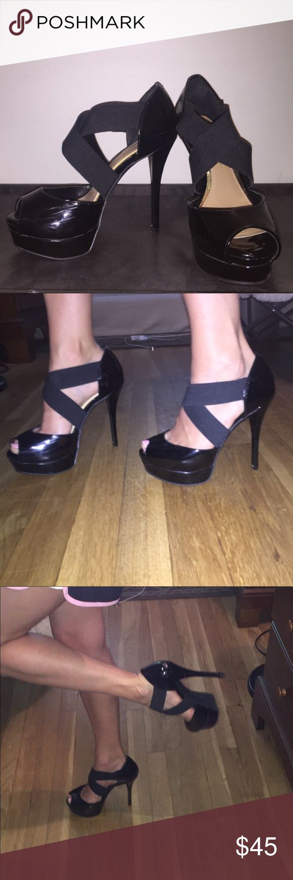 Jessica Simpson black strappy heels Wore these beauties ONCE for prom-- they are in mint condition. The elastic straps are perfect for both wide and narrow feet! I don't do well walking in heels but these are super comfy and easy to get around in! They are about 6 inches tall. Jessica Simpson Shoes Heels