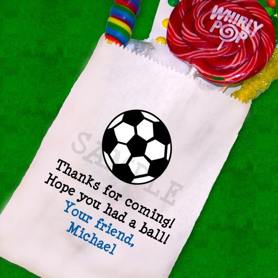 Soccer Party , Soccer Candy Bags, Goody Bags, Party Favor Bag, Cookie Bags Set of 25 via Etsy