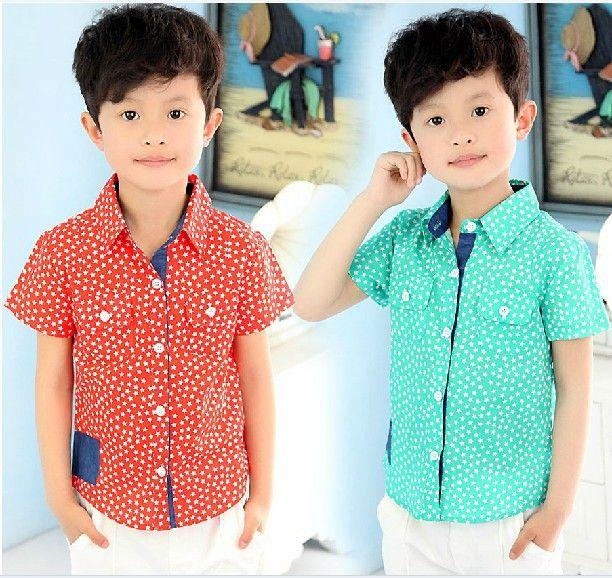 Мальчик рубашка красный морской синий короткий рукав хлопок полный принт звезды рубашка дети свободного покроя рубашка дети рубашки