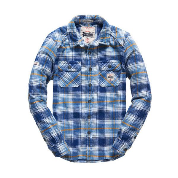 Superdry Milled Flannel Shirt (305 BRL) ❤ liked on Polyvore featuring men's fashion, men's clothing, men's shirts, men's casual shirts, blue, mens quilted flannel shirt, mens long sleeve shirts, mens long sleeve plaid shirts, mens blue flannel shirt and mens blue shirt