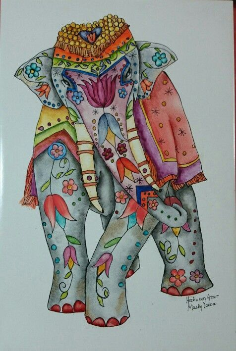 Elefante Indu pintado sobre Cerámico de 20 x30 cm: