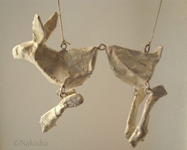 Rabbit sculpture by Nakisha- a few more strings and it will be a string puppet!