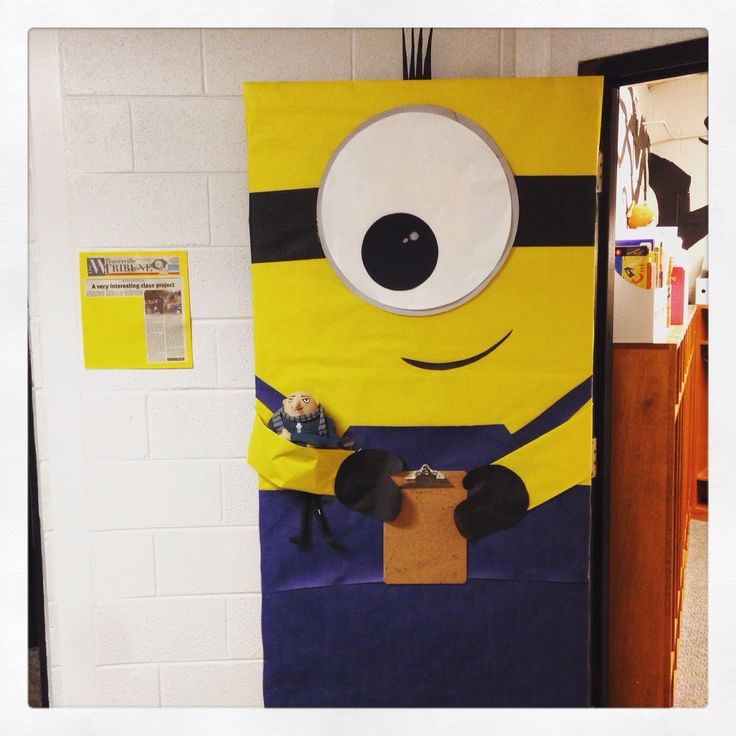Minion door decoration with clipboard for class list.