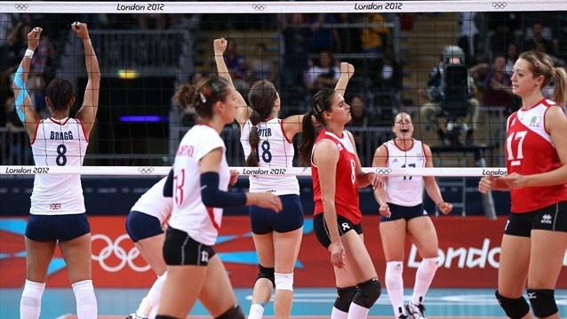 Team GB celebrate women's Volleyball win#