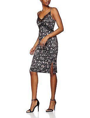 XXX-Large, Black (Black Mix), FIND Women's Floral Cami Dress With Lace Trim NEW