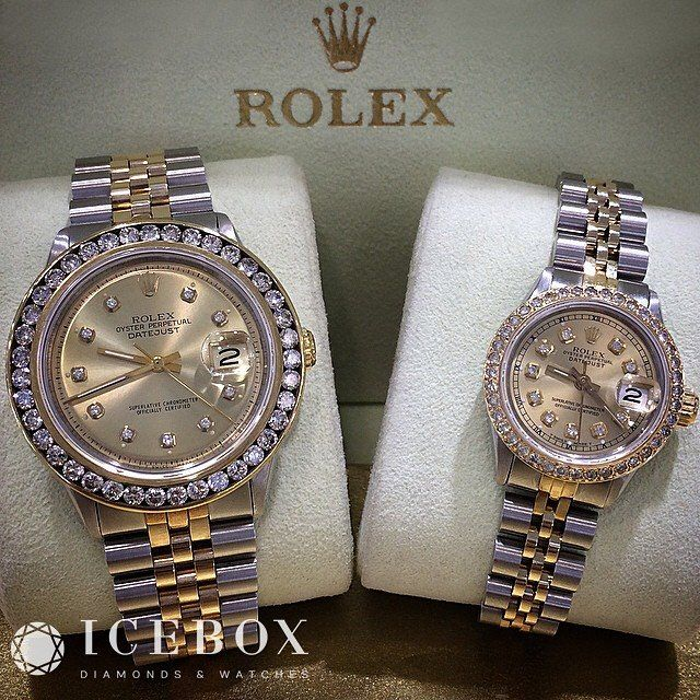 His & Hers 2 Tone SS/18K Yellow Gold ♛ Rolex 36mm DateJust & 27mm Rolex Ladies DateJust with Diamond Dials & Custom Diamond Bezels. Gorgeous matching set!