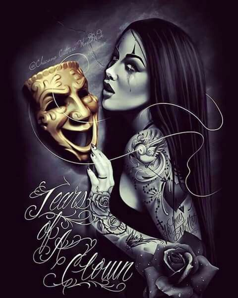 17 best images about rollin on pinterest chicano clown for Chicano clown girl tattoos