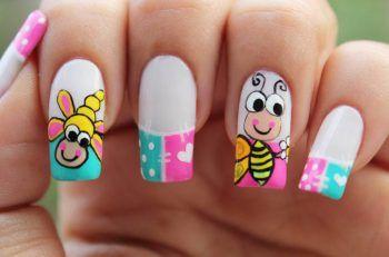modelos de uñas pinceladas abejas