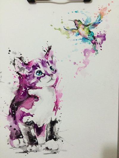 Javi Wolf Tattoo- watercolor kitten watching hummingbird