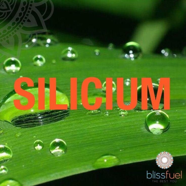 SILICIUM Silicium is een belangrijk onderdeel van bindweefsel, kraakbeen, huid, haar en nagels. Het maakt onderdeel uit van het collageen en hyaluronzuur en heeft een hydraterende werking. Silicium werkt bovendien tegen botverkalking.