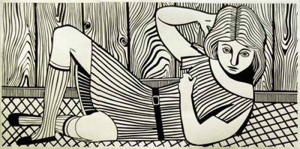 Christoph Ruckhaberle, Untitled (Woman 4) 2006, lino cut