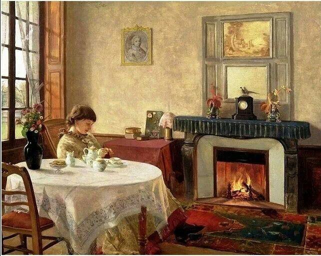 Interior ~ Christian Skredsvig ~ (Norwegian: 1854-1924)