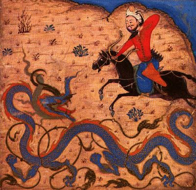 Bahram Gur's Combat with the Dragon, from the Shah-nama or Book of Kings - Shiraz, 1370