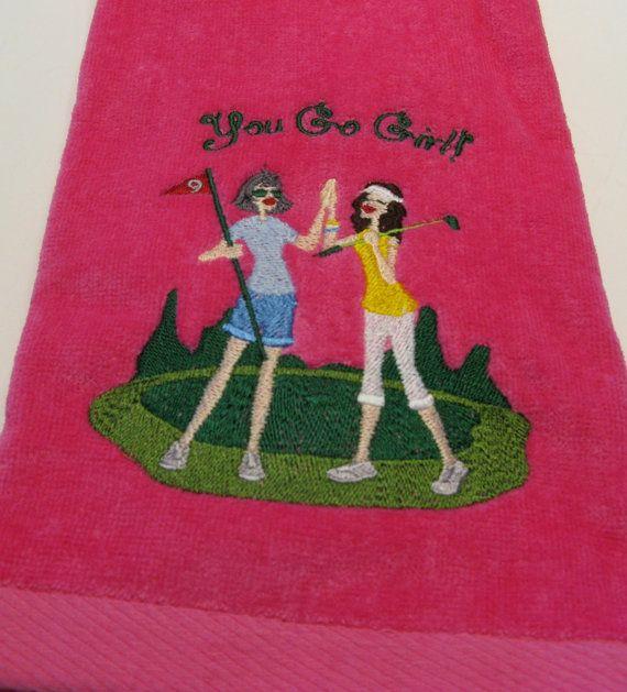 Embroidered Ladies Golf Towel 2 Ladies Pink Towel by AllThisNThat