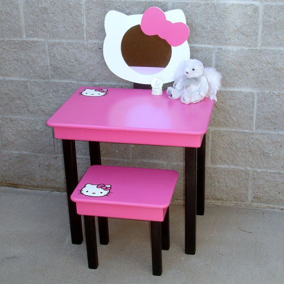 Hello Kitty Little Girls Pink Vanity Set by GreatCustomFurniture, $250.00