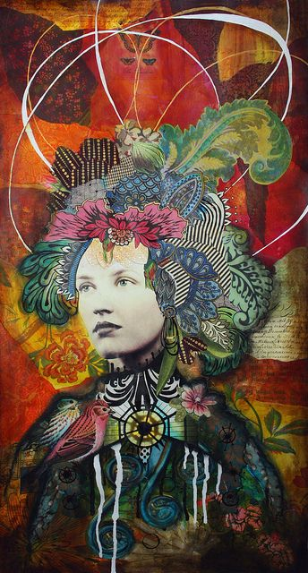 """Lady of Verona by Andrea Matus, via Flickr. Mixed Media collage on canvas 24"""" x 48"""""""