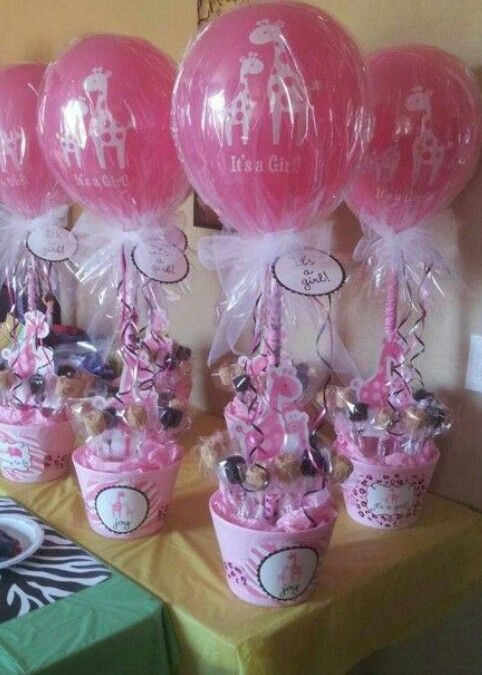 PINK girlie baby shower centerpiece or favors #cuteness #lovethisidea #stylish #buckets #animal #themed #sweet