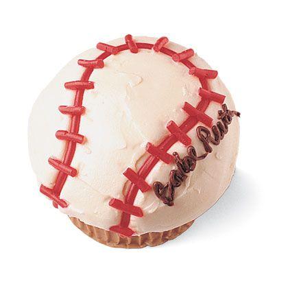 Baseball Cupcake by familyfun: Use Dad's name for Father's Day! #Baseball_Cupcake #Fathers_Day