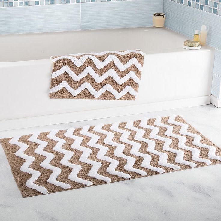 Trademark Global Lavish Home 100% Cotton Chevron 2-piece Bathroom Mat Set - Tan