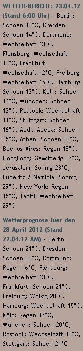 WETTER-BERICHT: 23.04.12 - http://www.schoeneswetter.com/wetterwuensche/wetter-2012/april-2012/wetter-23-april-2012.php