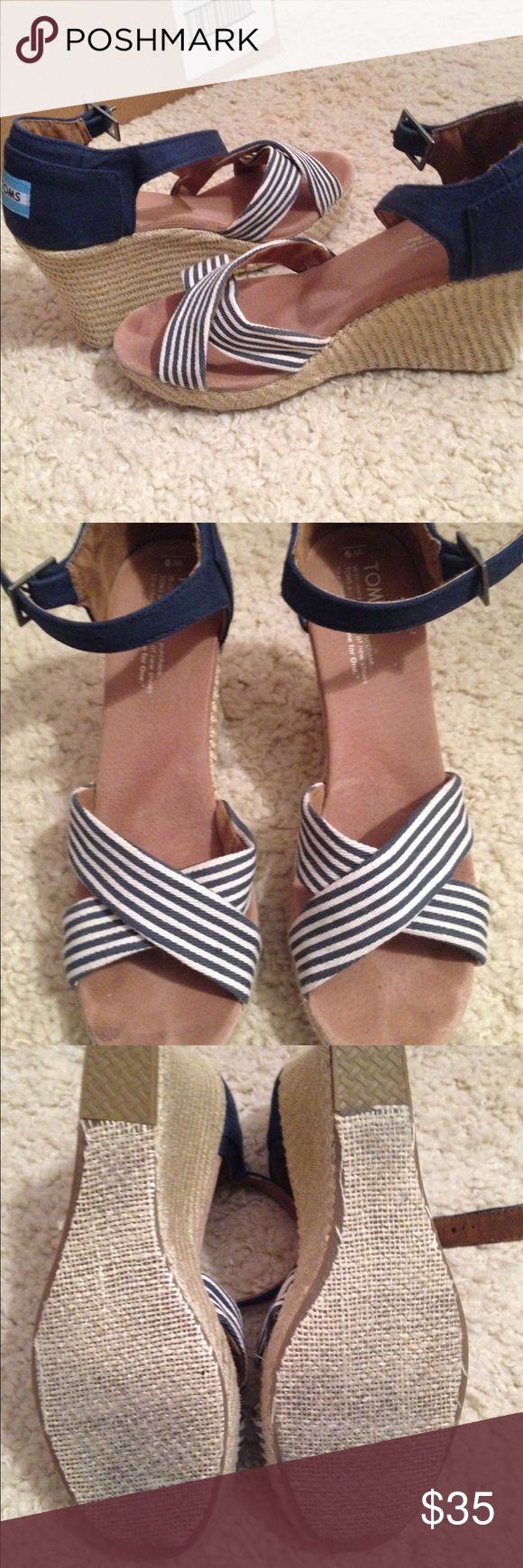 TOMS blue stripe wedge heel size 9 Lightly worn TOMS blue striped wedge heel. Actually very comfortable for the height. Great spring and summer heel! TOMS Shoes Heels