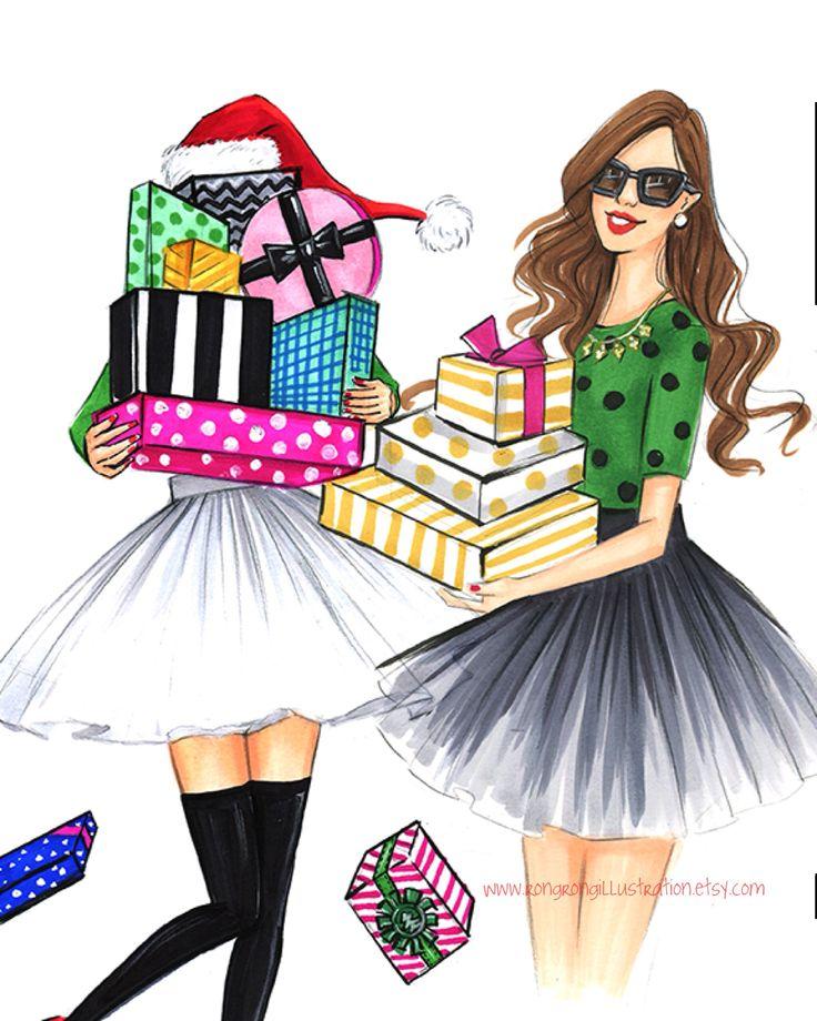 Fashion illustration of Christmas fashionistas by Houston fashion illustrator Rongrong DeVoe. More at www.rongrobgillustration.etsy.com